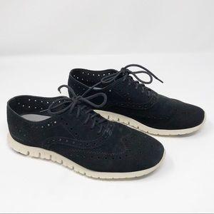 Cole Haan Zerogrand Wing Tip Oxfords Black Suede
